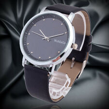 fashion mens WOMAGE new thin case PU leather wrist quartz watch Relogio