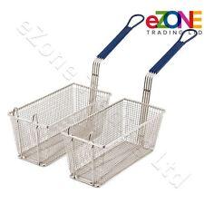 2 Frying Basket for Takeaway Restaurant Chip Fish Fryer Heavy Duty 340x165x150mm