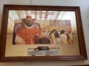 "Budweiser Great Kings of Africa Menelek II ABYSSINIA Framed Mirror Sign 26""x 18"""