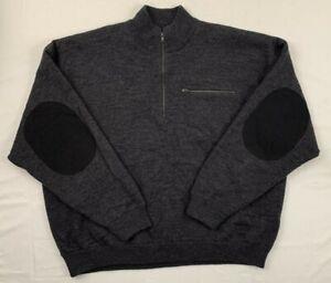 Cabelas men's windshear 1/4 zip lined pullover wool elbow patch sweater sz 3xl
