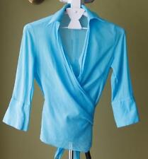 3/4 Sleeve Wrap 100% Cotton Tops & Blouses for Women