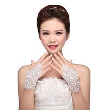 White Lace Sequins Rhinestone Bride Fingerless Wedding Evening Gloves N4O9