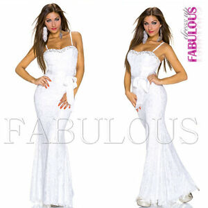 Formal Gown Long Wedding Evening Party Maxi Dress Lace Trendy Size 6 8 10 XS S M