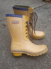 Hunter Lace-Up Festival Rain Boots Yellow Ladies size 7