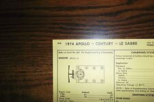 1974 Buick Apollo Century & LeSabre Models 350 V8 SUN Tune Up Chart Great Shape!
