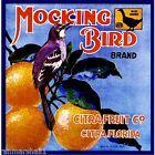 Citra Florida Blue Goose Mocking Bird Orange Citrus Fruit Crate Label Art Print