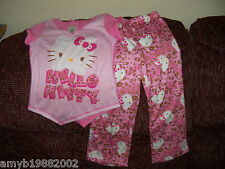 Hello Kitty 2 Pc Pink & Leopard Pajama Set  Size 4/5 Girls NWOT
