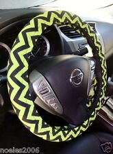 Handmade Steering Wheel Cover Lime Green and Black Chevron Zig Zag