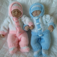 "DOLLS KNITTING PATTERN CARDIGAN SET FOR 10"" DOLLS PREMATURE BABY"