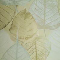 Batik yellow gold metallic modern floral tropical leaves textured wallpaper roll