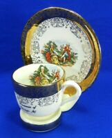 Vintage Sabin Crest O Gold 22K Warranted Courting Teacup And Saucer With Holder