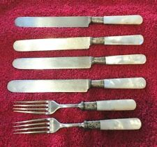 6p Mother of Pearl Forks and Knives Sterling Bands Has Wear SHP