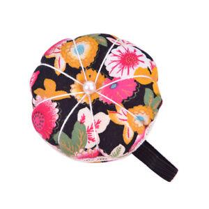 Pumpkin Shape Wrist Cross Stitch Needle Sewing Pin Cushion Button Strap Hol OH