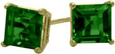 1.10Ct. Created 5mm Square Emerald 14K YG Stud Earrings