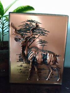 Vintage 3-D Copper Art Antelope Wall Hanging Decor