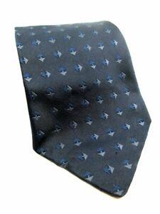 Banana Republic Homme Italien Cravate Soie Bleu Brodé Design Diamant