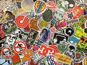 Lot de 50 stickers skateboard, logos, marques skate, sport, doodle, retro, tag