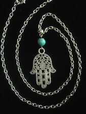 Necklace Long Silver Fatima Hamsa Hand  Boho Hippie Moroccan Bohemian N1011