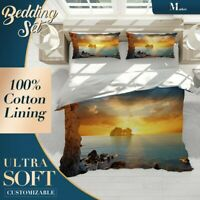 Sunset Cliff Beach Sea Ocean Gold Doona Cover Sets Single Double Queen King Size