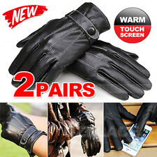 2Pair Mens Winter Warm PU Leather Touch Screen Gloves Full Finger For Smartphone