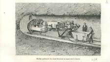 Machine perforatrice du colonel Beaumont tunnel sous la Manche  GRAVURE 1883