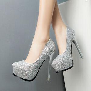 Women Sequin Slip On High Heels Round Toe Stiletto Platform Pump Shoe Party Club
