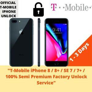 T-Mobile iPhone 8 / 8+ / SE 7 / 7+ / 100% Semi Premium Factory Unlock Service