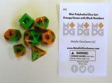 Metallic Dice Games Miniature 7 Dice Set Orange/Green w/ Black LIC445