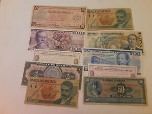 Mexico: 10 Bank Notes From El Banco de Mexico.