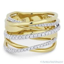 Gold Right-Hand Overlap Loop Wrap Ring 0.54ct Round Cut Diamond 14k Yellow White