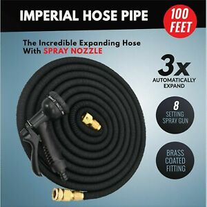 100FT- 200FT Expandable Flexible Garden Hose and Car Wash Pipe with Spray Gun UK