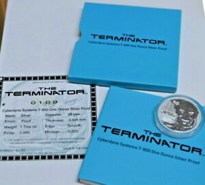 2015 The Terminator T-800 1oz 99.9% Silver Coin w/ Box & COA