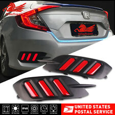 Red Tail Brake Light Lamp For Honda Civic Sedan 16-18 Rear Bumper Led Reflector
