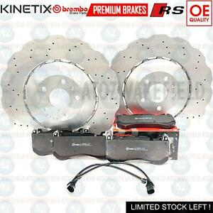 FOR AUDI RS6 RS7 FRONT WAVEY DRILLED COATED BRAKE DISCS BREMBO PADS 4G0615301AH