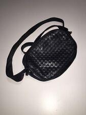 Vintage Aspects Basket Weave Navy Genuine Leather Hobo Crossbody Purse