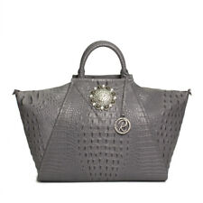 Raviani Satchel In Gray Embossed Crocodile Cowhide Leather W/ Crystal Concho