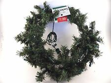 18 Inch Lighted Pine Wreath Clear Mini Lights Christmas Door Table Decoration