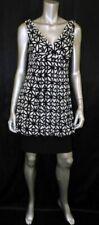 ELIZA J Black/Ivory Print Sleeveless Plunging V-Neck/Open Back Bubble Dress sz 6