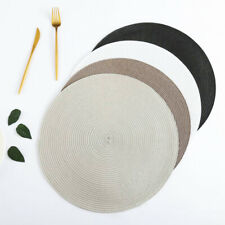 4 Pack of Round Jacquard Weaved Non Slip Placemats Dining Table Place Mats Set