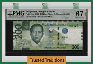 TT PK 226a 2020 PHILIPPINES BANGKO SENTRAL 200 PISO PMG 67 EPQ SUPERB GEM UNC.