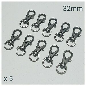 5 x Gun Metal Lobster Swivel Clasps Snap Hooks DIY Keyring Keychain Lanyard