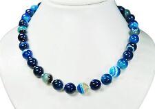 Bella Cadena de Piedras Preciosas de Azul Ágata en Forma de Bola Ø-12 Mm