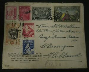1937 AIRMAIL COVER VF USED ECUADOR SENT TO THE NETHERLANDS B33.32 START $0.99