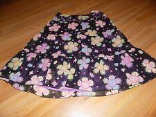 Girls Size 10 Talbot Kids Black Purple Floral Print Skirt Beaded Waist Satin EUC