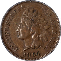 1864 Indian Cent L on Ribbon PCGS XF40 Superb Eye Appeal Nice Strike