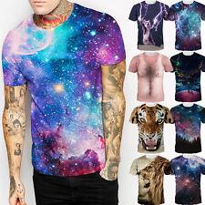 Neu Herren Damen Galaxie 3D Print kurze Ärmel Sport Freizeit T-Shirt Tops Shirts