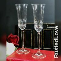 Mikasa Interlude Fluted Champagne Glasses Blown Crystal Wedding Toasting Set - 2