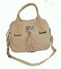 Elliott lucca python satchel chain shoulder bag beige