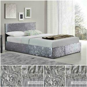 Crushed Velvet Divan Bed Base Valance Wrap Elasticated Frame Cover Double King