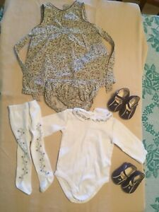 """Janie and Jack Girls Size 3-6 Months Dress / Outfit """"Enchanted Garden"""" VTG 2002"""
